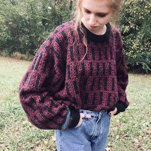 Vntg 90s hand framed wool blend oversized sweater